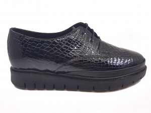 Pantofi damă negri din lac cu șiret