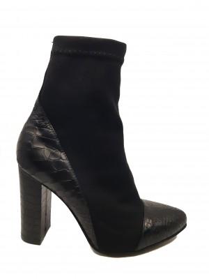 Botine damă elegante stretch negre din piele naturală