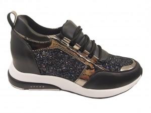 Pantofi sport damă cu talpa groasă negri glitter și argintiu
