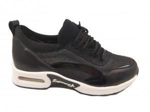 Pantofi sport damă negru sidefat cu talpa groasă antișoc