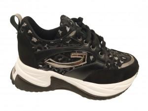 Pantofi sport damă cu talpa voluminoasă negri cu argintiu