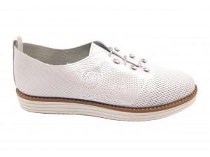 Pantofi casual alb sidefat din piele naturală