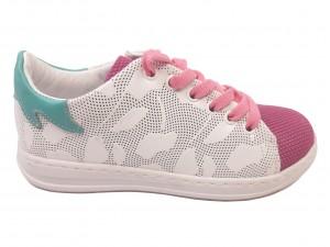 Pantofi sport fete albi cu roz din piele naturală