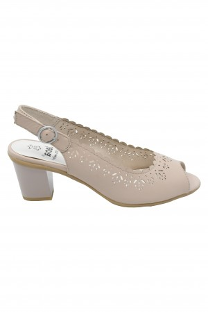 Sandale damă rose decupate din piele naturală