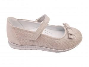 Pantofi fete argintii din piele întoarsă