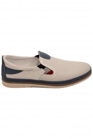 Pantofi casual albi bărbați, din piele naturală