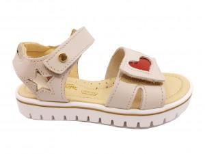 Sandale fete bej din piele naturală