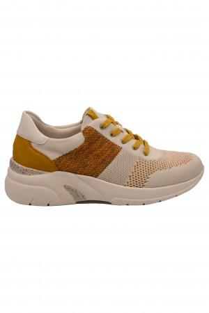 Pantofi sport damă alb cu muștar, din material textil