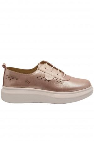 Pantofi damă casual roz din piele naturală