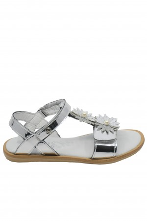 Sandale fete argintiu oglindă, din piele naturală