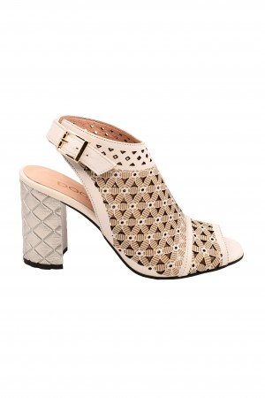 Sandale damă tip botină albe cu toc argintiu