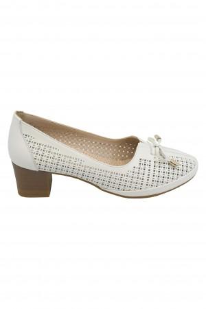 Pantofi damă crem perforați, din piele naturală