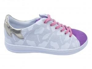 Pantofi sport fete alb cu mov din piele naturală