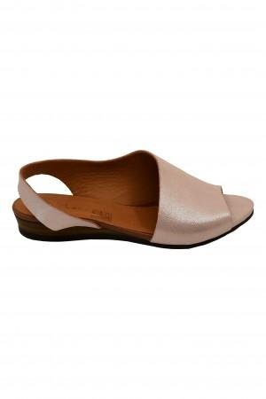 Sandale damă decupate roz din piele naturală