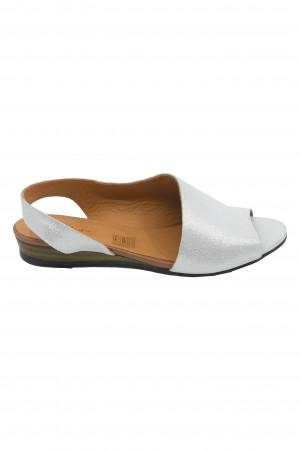 Sandale damă decupate albe din piele naturală