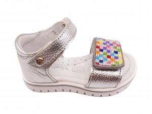 Sandale fete argintii din piele naturală