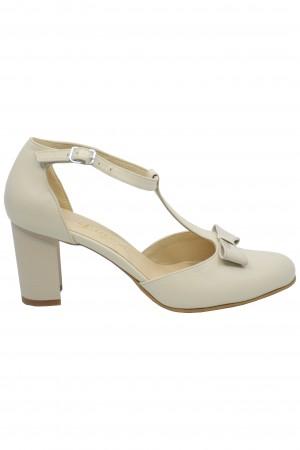 Pantofi damă bej decupați din piele naturală
