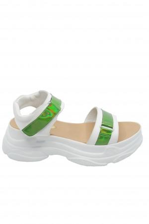 Sandale damă stil sport alb + verde oglindă Anais