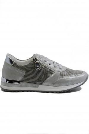 Pantofi sport damă gri din piele naturală