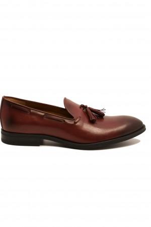 Pantofi eleganți bordo din piele naturală