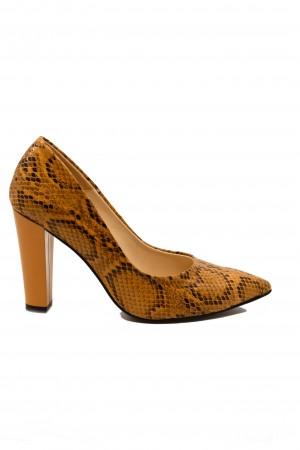 Pantofi damă muștar din piele naturală cu imprimeu șarpe