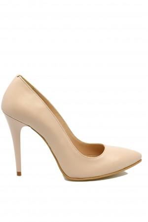 Pantofi stiletto nude din piele naturală