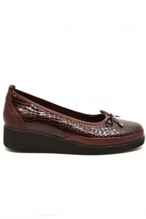 Pantofi damă casual bordo din piele naturală lăcuită