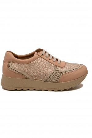 Pantofi sport damă roz pudră din piele naturală