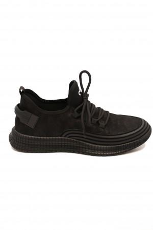 Pantofi sport Otter negri din piele întoarsă
