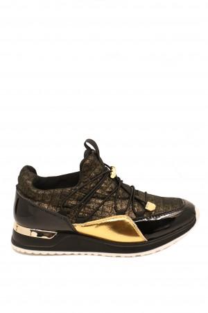 Pantofi sport damă negri-aurii, din material textil