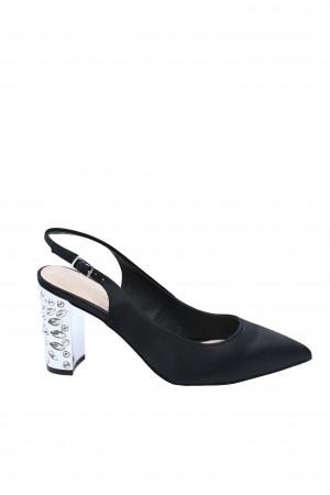 Pantofi damă decupați eleganți negri cu toc argintiu