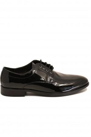 Pantofi negri eleganți din lac pentru bărbați