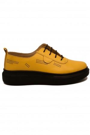 Pantofi damă casual galbeni din piele naturală