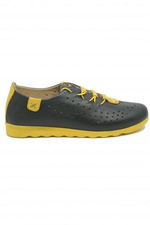 Pantofi damă sport verde-galben din piele naturală