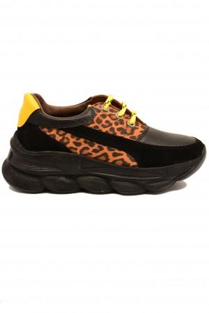 Pantofi sport Nady negri din piele întoarsă
