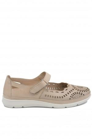 Pantofi damă grej cu baretă, din piele naturală