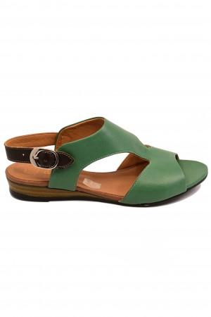 Sandale damă casual verzi din piele naturală