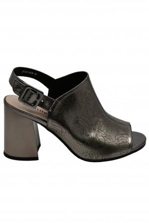 Sandale elegante bronz metalic, din piele naturală