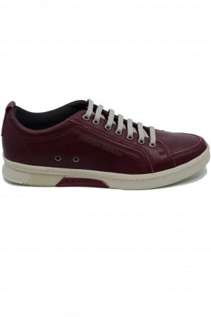 Pantofi sport bordo bărbați din piele naturală
