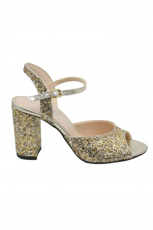 Sandale elegante glitter auriu cu toc bloc