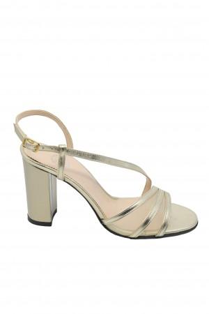Sandale damă elegante aurii din piele naturală