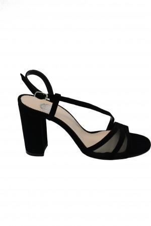 Sandale damă elegante negre din piele întoarsă