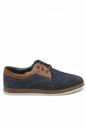 Pantofi casual bleumarin perforați dn piele întoarsă