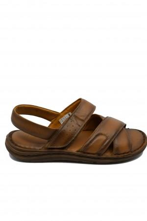 Sandale bărbați maro comode din piele naturală
