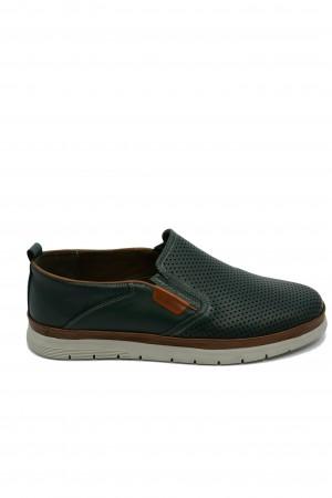 Pantofi bărbați slip-on, culoare verde, din piele naturală
