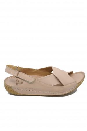 Sandale damă roz pudră din piele naturală, cu talpă anatomică