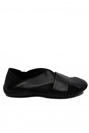 Sandale negre bărbați cu design modern și talpa cusută