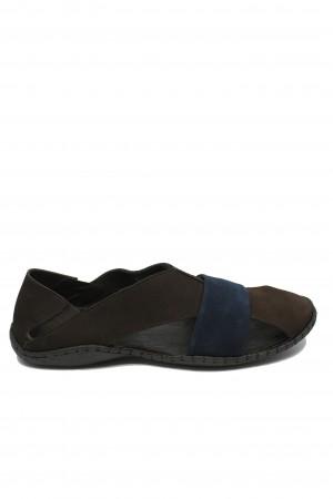 Sandale bărbați maro-bleumarin, cu design modern și talpa cusută