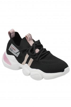 Sneakers damă negri cu detalii roz, din material textil