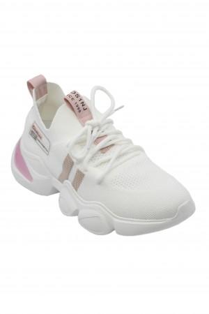Sneakers damă albi cu detalii roz, din material textil